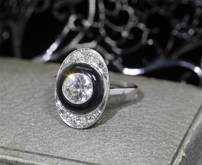アンティークジュエリー 1,15ct ダイヤモンド アールデコ オニキス プラチナ リング