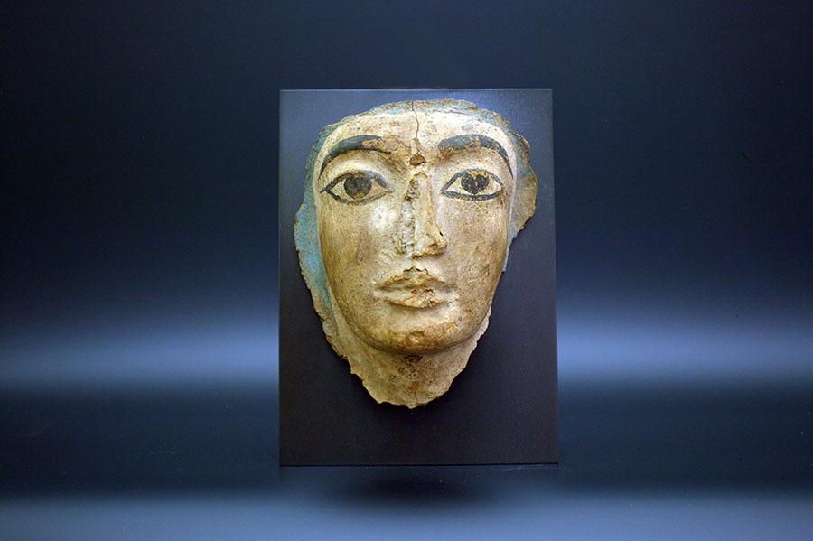 アンティーク 古代エジプト 新王国 彩色木製マスク