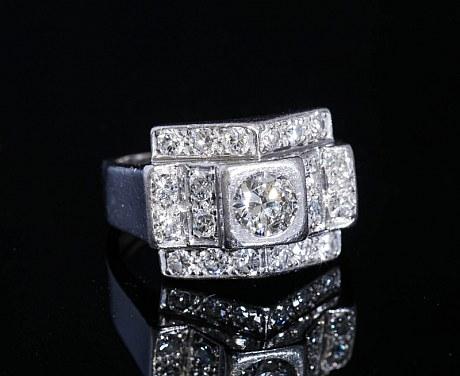 アンティークジュエリー アールデコ リング 指輪 ダイヤモンド プラチナ