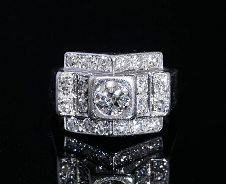アンティークジュエリー アールデコ リング 指輪 ダイヤモンド プラチナ アンティークギャラリーソレイユ