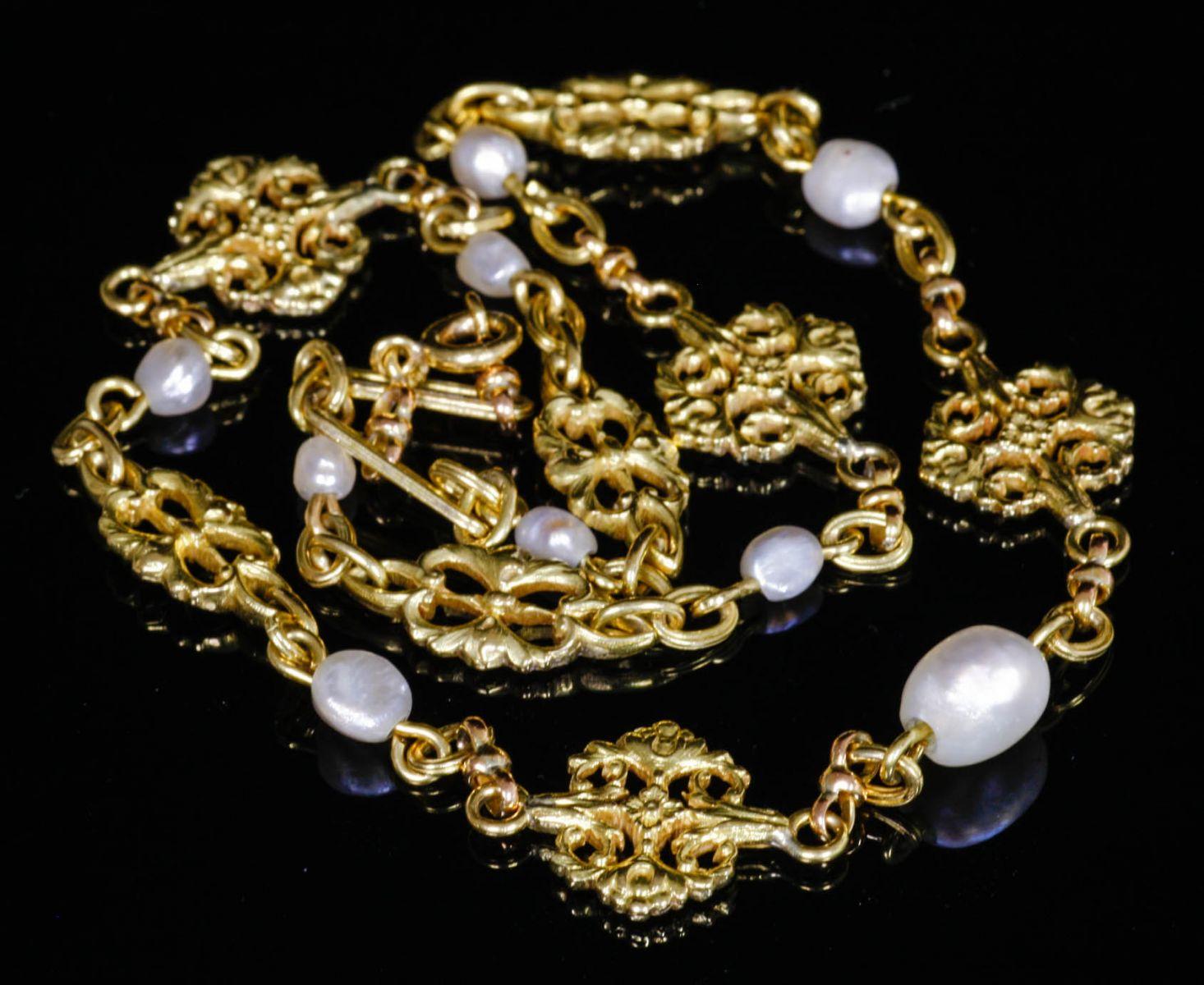 アンティークジュエリー ペンダント ネックレス アールヌーヴォーゴールドネックレス 天然真珠