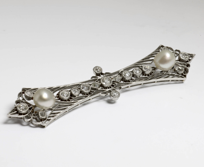 アンティークジュエリー ブローチ 天然真珠 プラチナブローチ