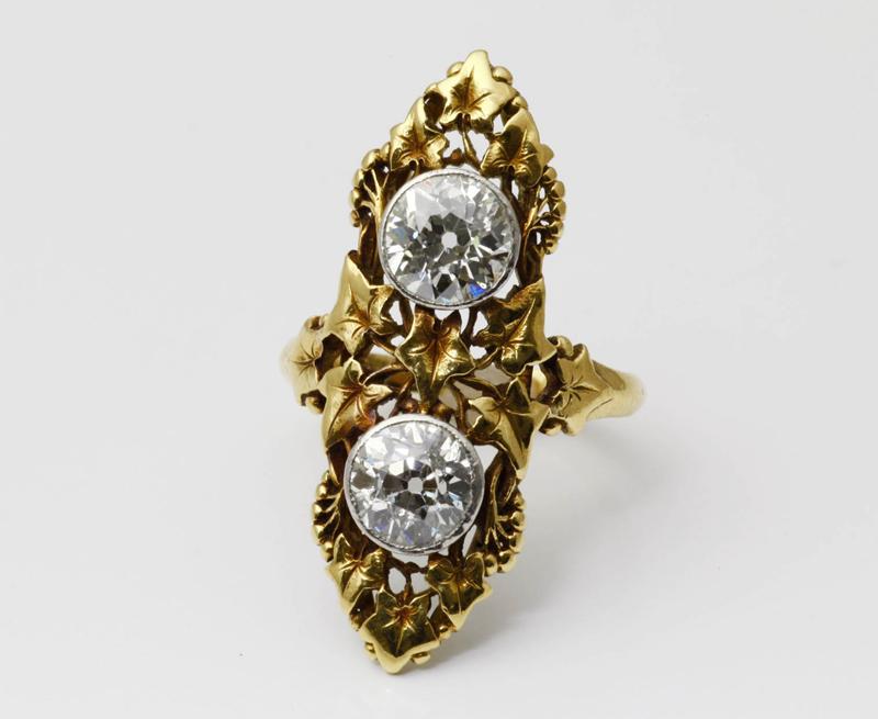 アンティークジュエリー アールヌーヴォーリング 2ct ダイヤモンド