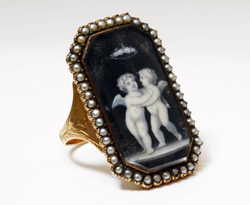 アンティークジュエリー 18世紀 グリザイユ 天使のラブリング