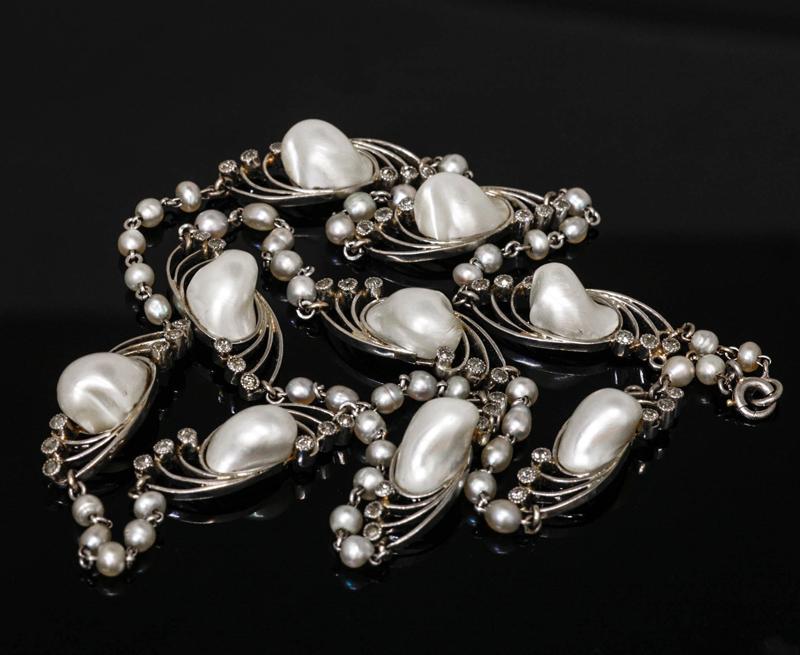 アンティークジュエリー ペンダント ネックレス アールヌーヴォー 天然真珠(マベ、バロック?) プラチナ ダイヤモンド ネックレス