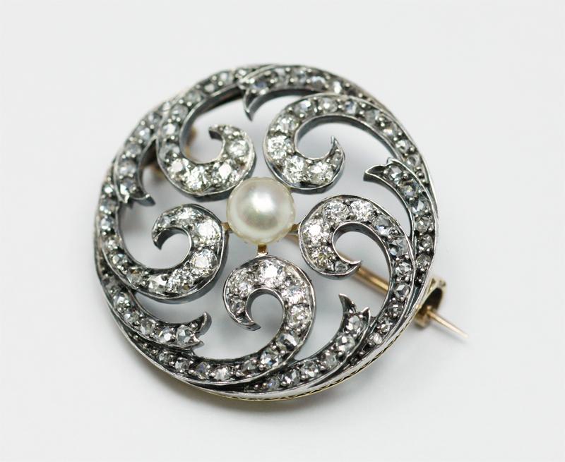 アンティークジュエリー ブローチ 天然真珠 ダイヤモンド シルバー