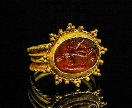 アンティークジュエリー 古代ジュエリー インタリオ コーネリアン アキレス リング 指輪
