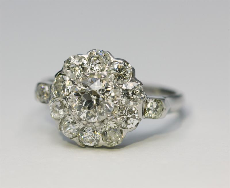 アンティークジュエリー アンティークギャラリー ソレイユダイヤモンド クラスター リングダイヤモンド クラスター リング